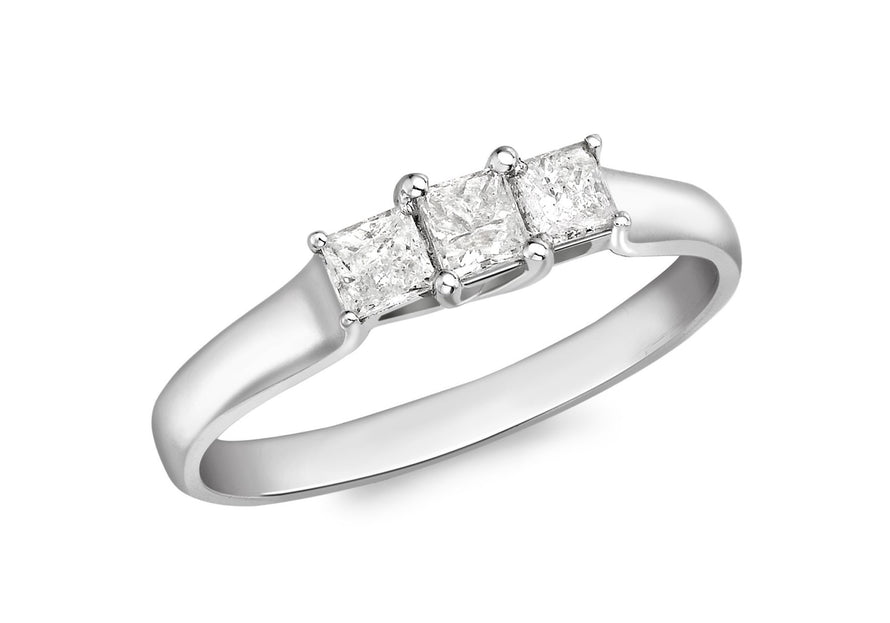 Diamond 3-Square-Stone Ring 18ct White Gold
