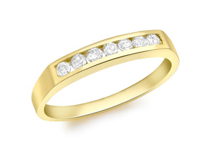 Diamond 0.50ct 7-Stone Channel Set Half Eternity Ring 18ct Yellow Gold