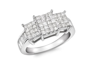 Baguette Cut 1.00ct Diamond Invisible Set Ring 18ct White Gold