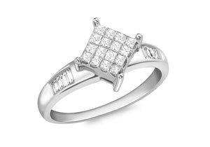 Baguette Cut Diamond Invisible Set Ring 18ct White Gold