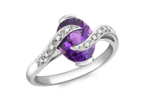 Diamond and Oval Amethyst Ring 18ct White Gold