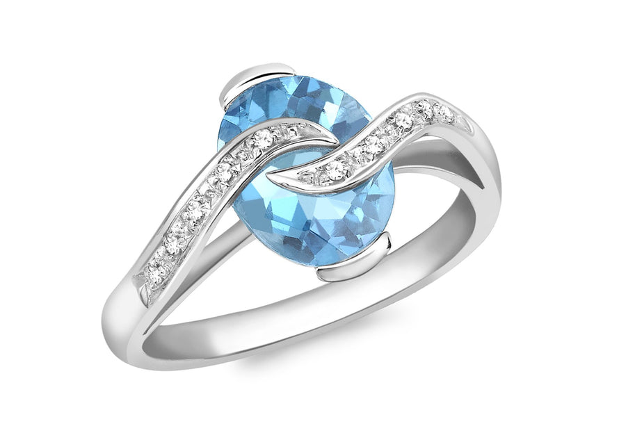 Diamond and Oval Blue Topaz Ring 18ct White Gold