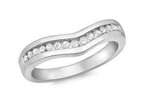 Diamond Channel Set Wishbone Ring 18ct White Gold