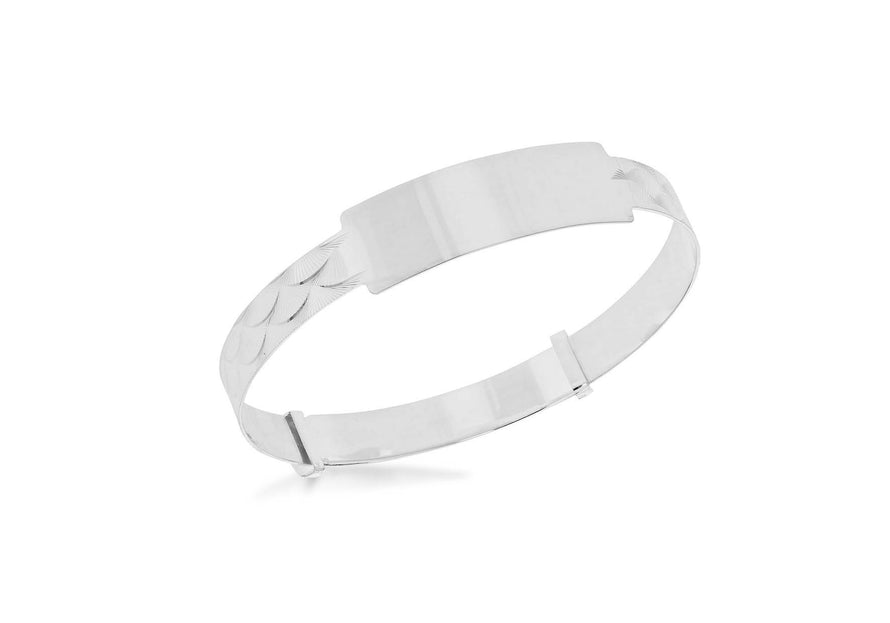 Sterling Silver Shell Adjustable ID Bangle