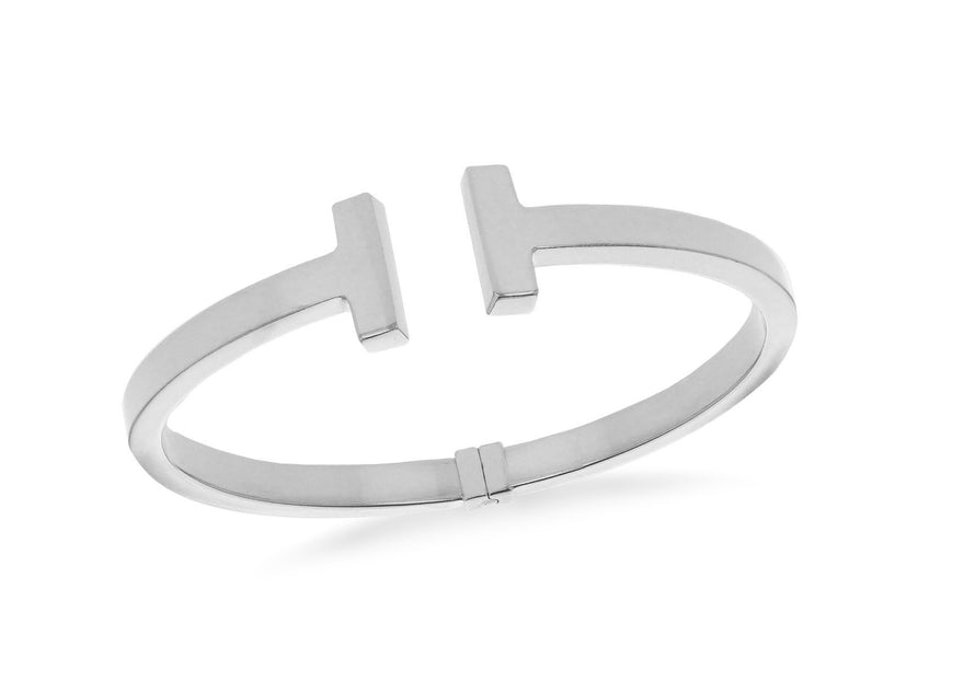 Sterling Silver T Torque Hinged Bangle