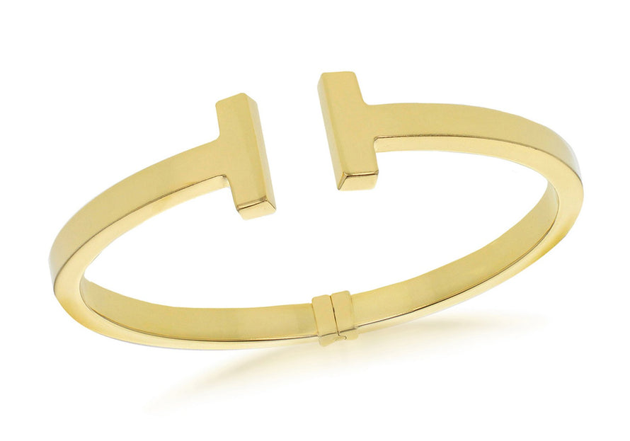 Sterling Silver Yellow Gold Plated T Torque Hinged Bangle