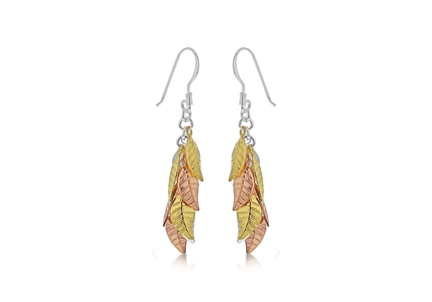 Sterling Silver Three Tone Leaves Drop Earrings