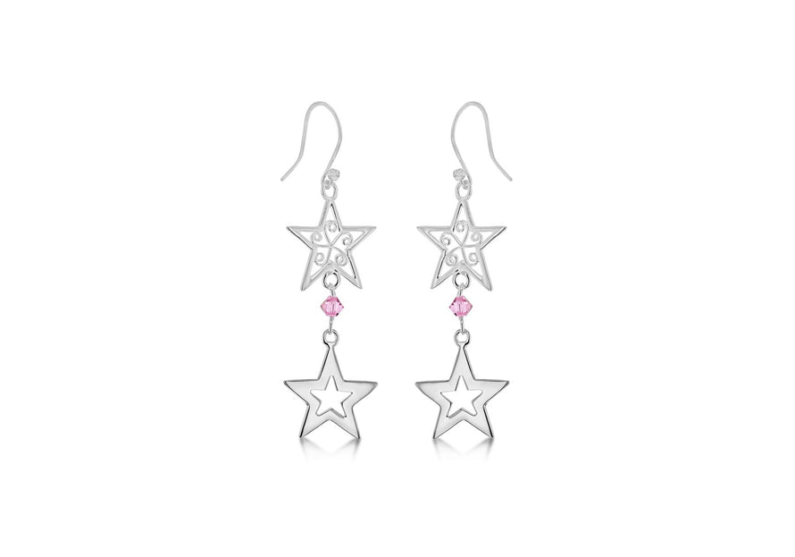 Sterling Silver Two Star Pink Crystal Drop Earrings