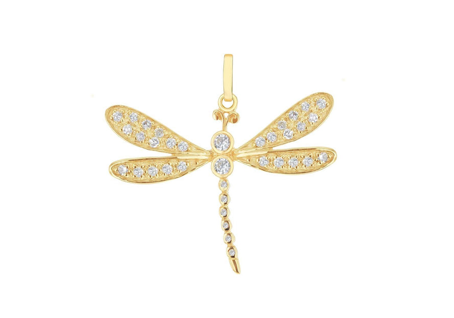 Sterling Silver Gold Plated CZ Set Dragonfly Pendant