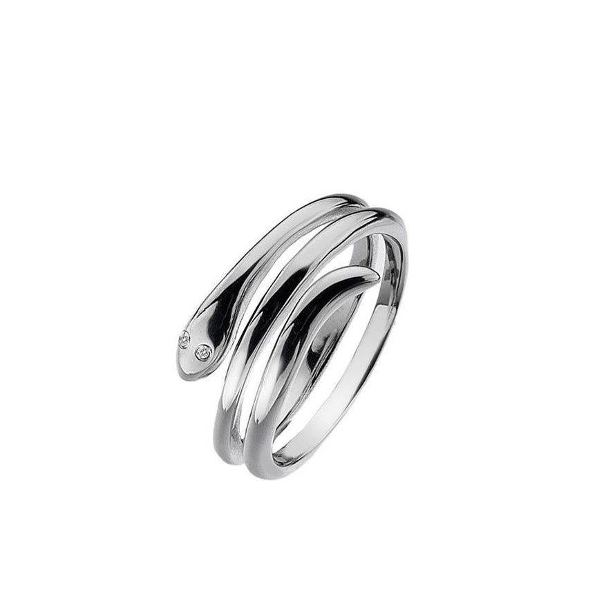 Sterling Silver 0.01ct Snake Ring Hand-Set with a Diamond Accent