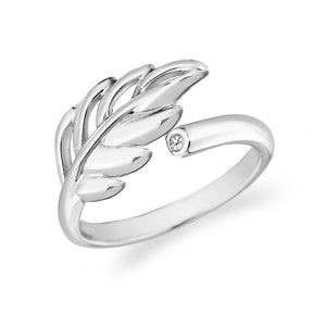 Sterling Silver 0.01ct Diamond Willow Leaf Ring
