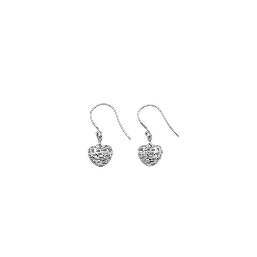 Sterling Silver Woven Heart Drop Earrings Hand-Set with Diamond Accents