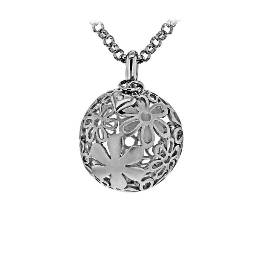 Sterling Silver Matt Floral Ball Pendant with a Tiny Heart Hand-Set with a Diamond Accent