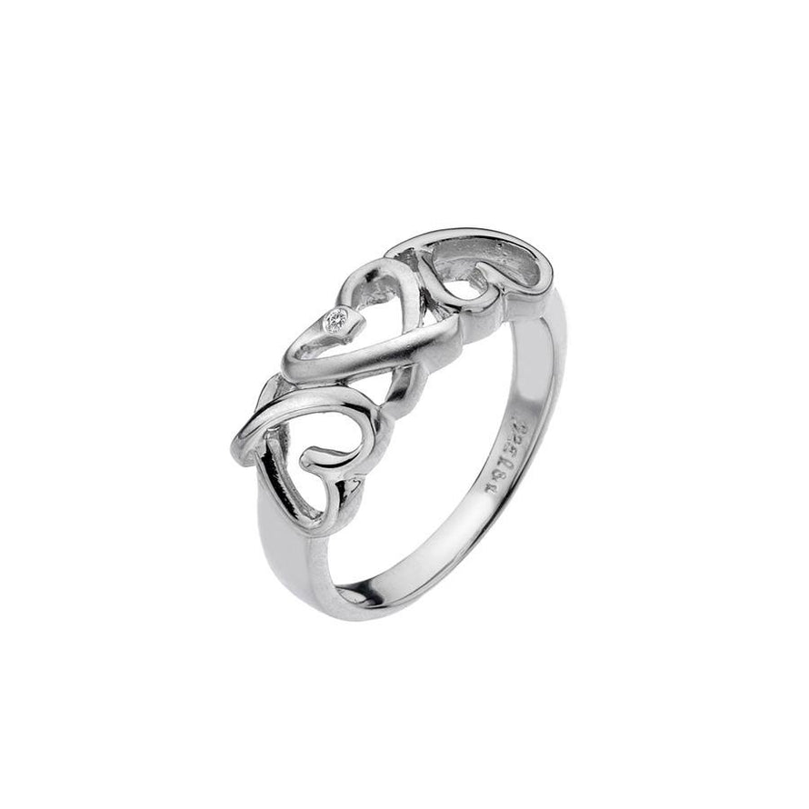 Sterling Silver Triple Heart Ring Hand Set with a Diamond Accent