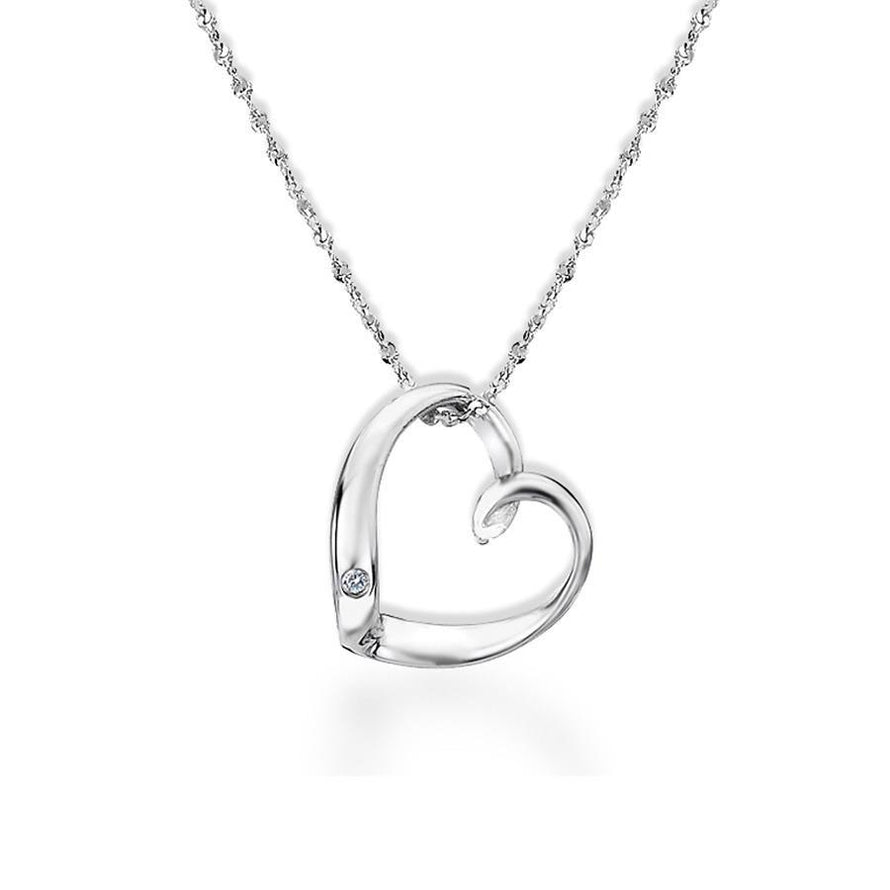 Sterling Silver Open Heart Necklace Hand-Set with a Diamond Accent