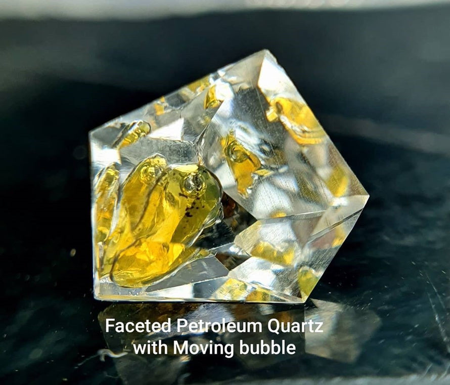 Faceted Natural Petroleum Quartz Gemstones - Dynagem