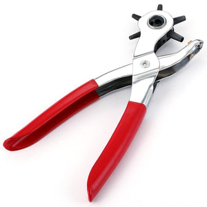 6 IN 1 Red Grip Revolving Leather Strap Watch Band Belt Hole Punch Pliers Tool - Dynagem