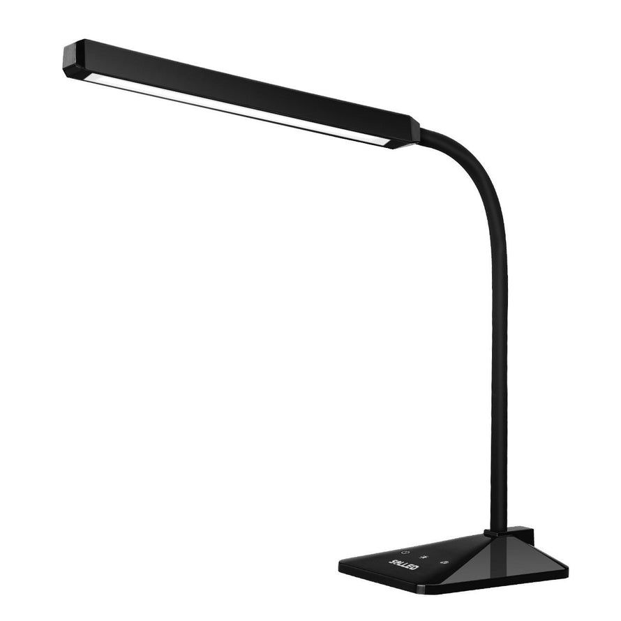 SOLLED 8W Desk Lamp 48 PCs LG LEDs 5 Colors (2700K-6000K) and 5 Levels Brightness Dimmable Table Light with Touch Sensitive Control Panel, Goose-neck for Reading/Home/Working/Office/Study