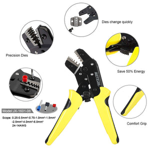 Meterk Professional Wire Crimper Engineering Ratchet Terminal Crimping Pliers JX-06WF 0.25-6 mm2 Bootlace Ferrule Crimper Crimping Tool Cord End Terminals 24-10AWG