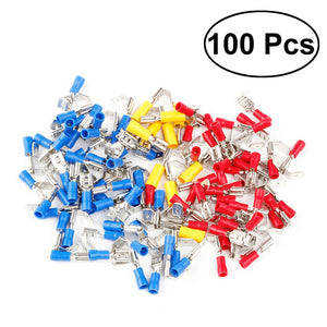 100Pcs Piggy Back Spade Connector Crimp Electrical Terminal 10-22AWG (Red Blue Yellow)