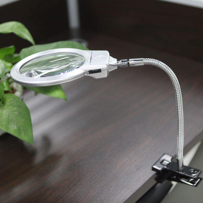 2.5X 107MM 5X 24MM LED Illuminating Magnifier Metal Hose Magnifying Glass Desk Table Reading Lamp Light with Clamp
