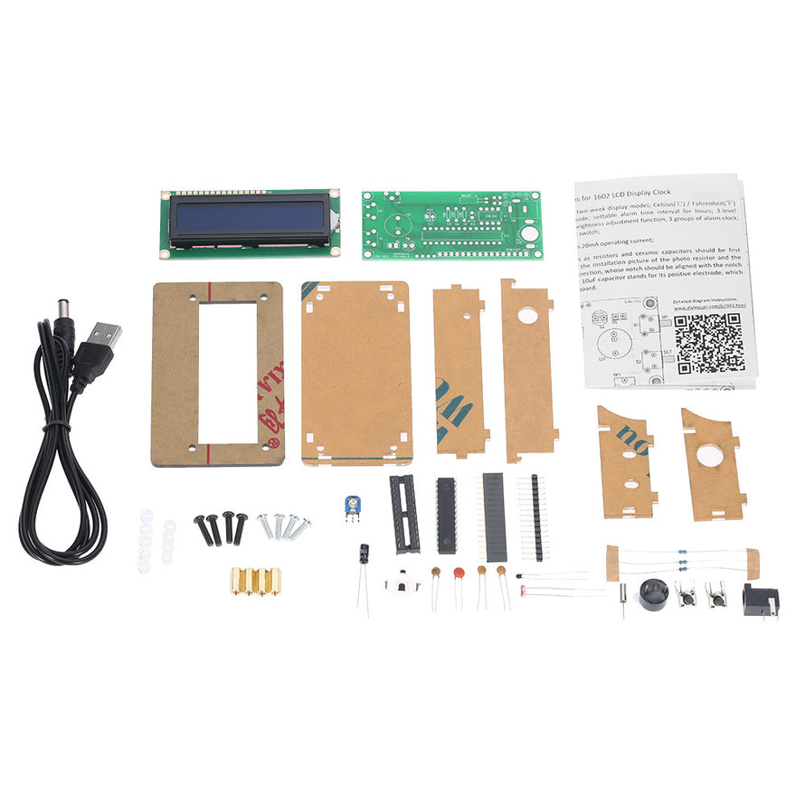 LCD DIY Digital Clock Kit with Acrylic Case