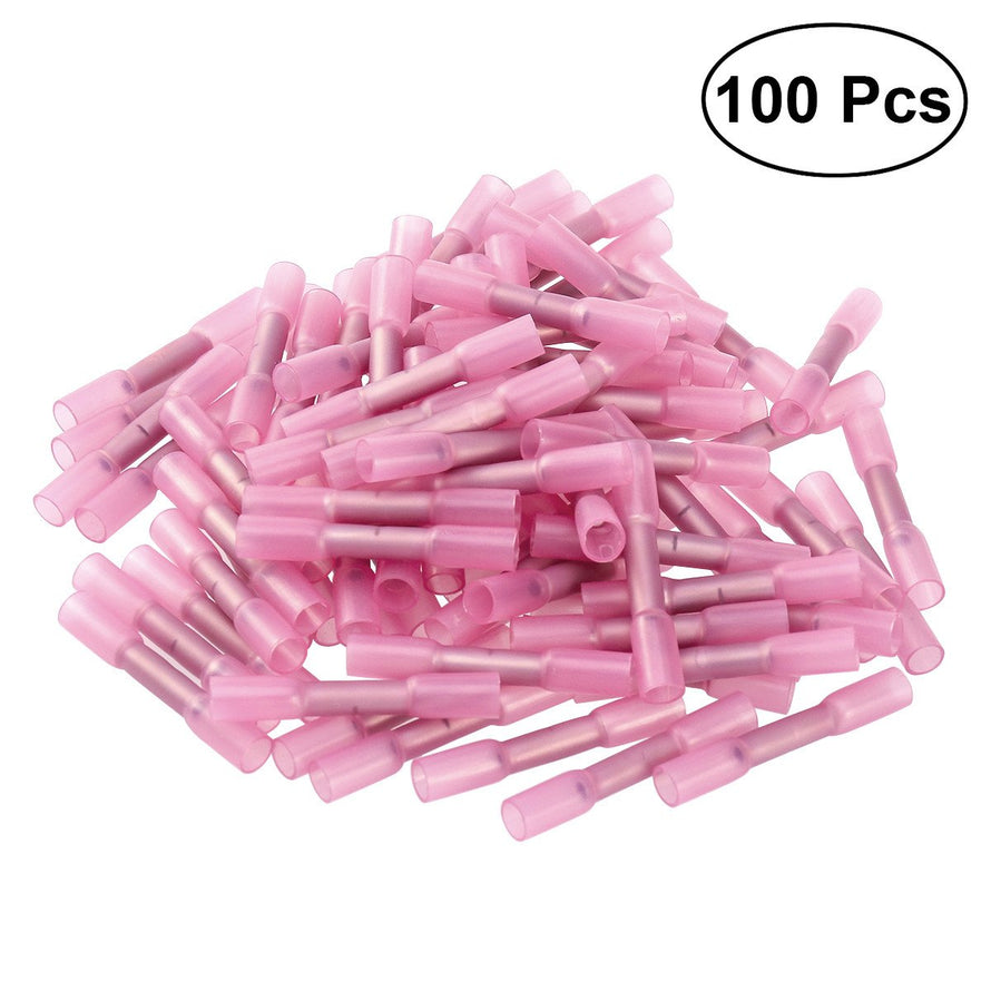 100pcs Waterproof Heat Shrink Insulated Butt Wire Crimp Connectors Crimp Terminals 0.5-1.5mm (Pink)