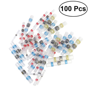 100pcs 4 Sizes Solder Seal Heat Shrink Wire Connector Kit Waterproof Connector Set with Case (35Red 30Blue 25White 10Yellow)