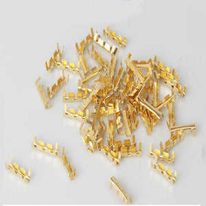 100pcs Gold U-shaped Brass Buckle Terminal Docking Connector Line Pressing Button - Dynagem