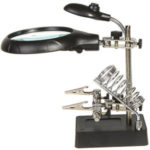Magnifier with LED Light 2.5X 7.5X 10X LED Light Magnifier Helping Hand Auxiliary Clamp Alligator Clip Stand