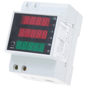 AC80-300V 100A Multi-functional Digital Din Rail Current Voltage Power Factor Meter Ammeter Voltmeter