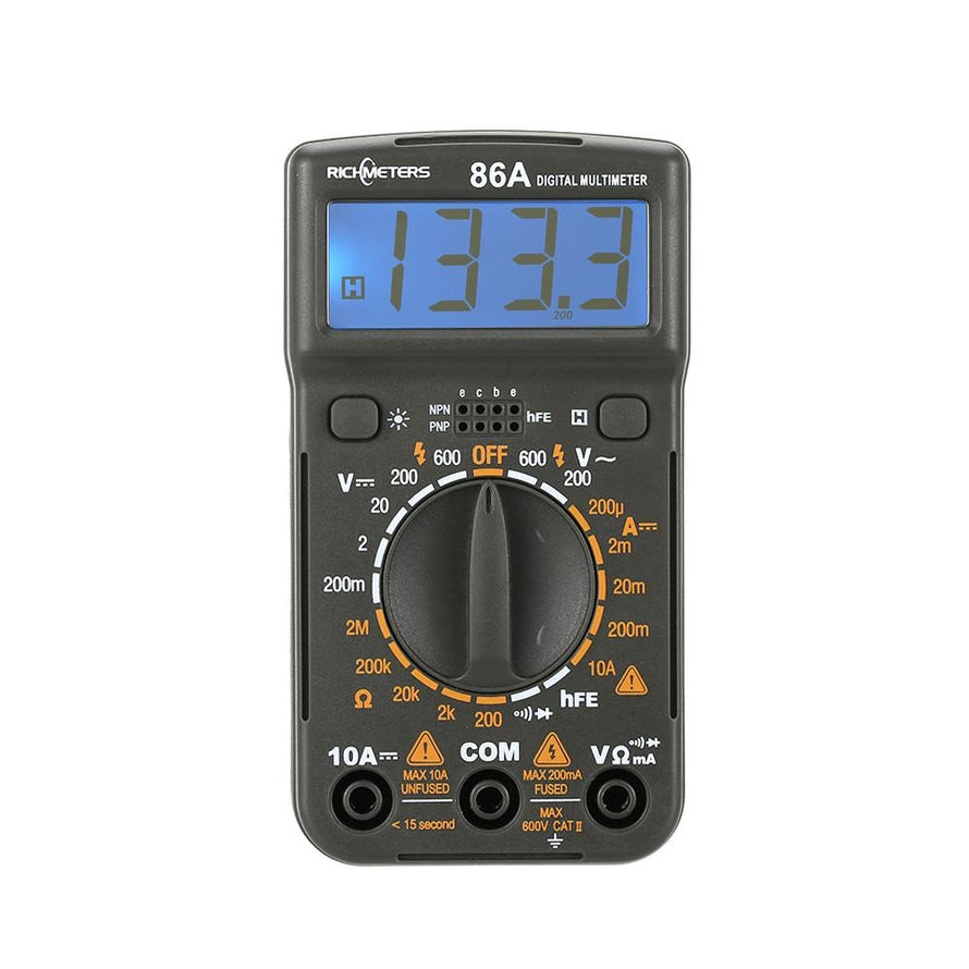 RICHMETERS RM86A Pocket Size Mini Digital Multimeter Backlight AC/DC Handheld Ammeter Voltmeter Voltage Current Ohm Electrical Tester Portable 1999 counts Meter - Dynagem