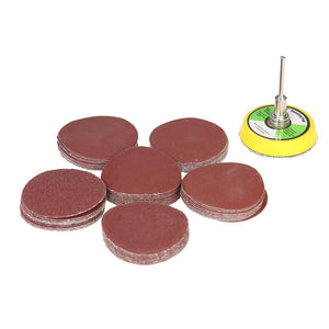 "60PCS 50mm 2"" Sander Disc Sanding Disk 100-2000 Grit Paper with 2inch Abrasive Polish Pad Plate for Dremel Rotary Tool - Dynagem"
