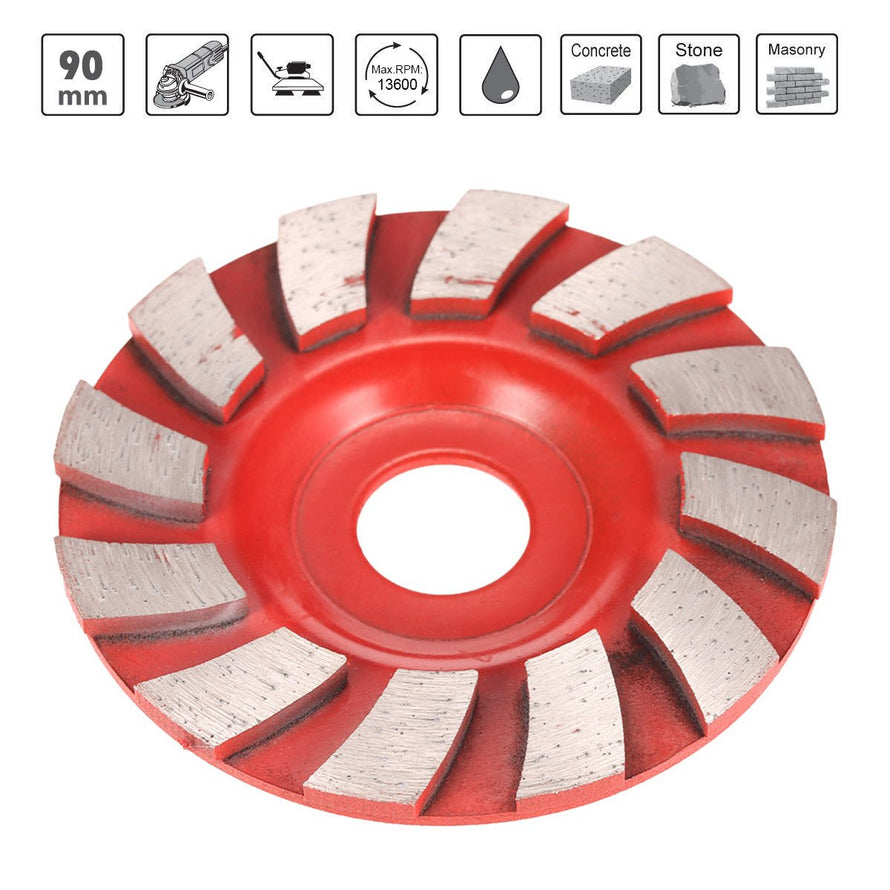 "90mm 3.5"" Diamond Segment Grinding Wheel Fan Shape Grinder Cup 20mm Inner Hole Concrete Granite Masonry Stone Ceramics Terrazzo Marble Grind Disc for Building Industry - Dynagem"