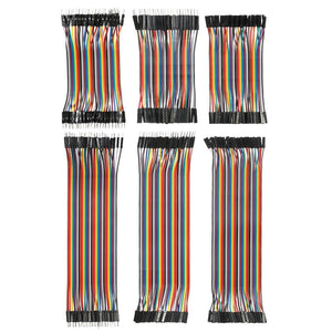 240pcs Breadboard Jumper Wires Ribbon Cables Kit Multicolored 80 Pin M/M + 80 Pin M/F + 80 Pin F/F (10cm/20cm) - Dynagem