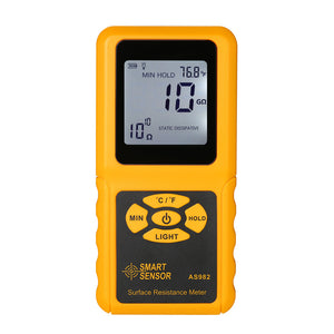 SMART SENSOR Handheld LCD Surface Resistance Meter Tester with Temperature Measurement and Data Holding Function