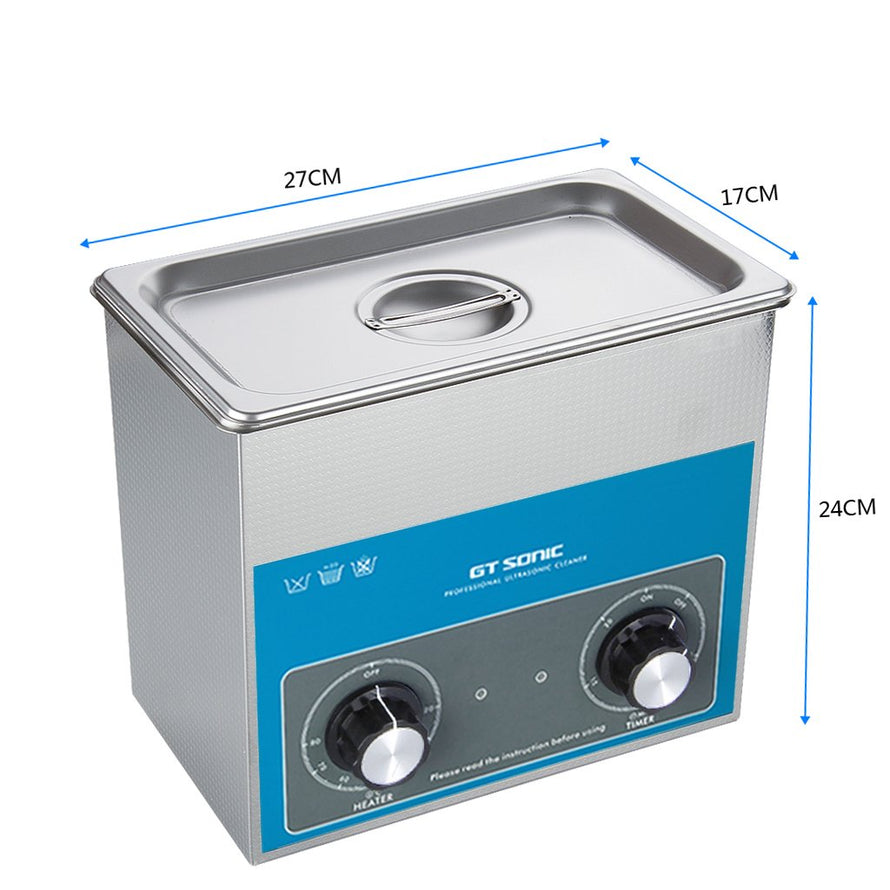 GTSONIC VGT-1730QT 3L 100W Ultrasonic Cleaner Stainless Steel SUS304 Jewellery Glasses Metal Ultrasonic Cleaning Machine US PLUG