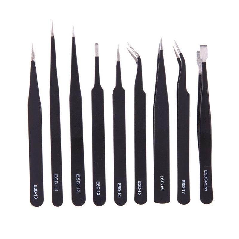 9pcs  Anti-static Stainless Steel Tweezers
