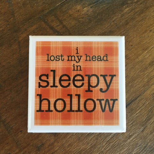 I lost my head in Sleepy Hollow Orange Plaid Square Button Pin Headless Horseman