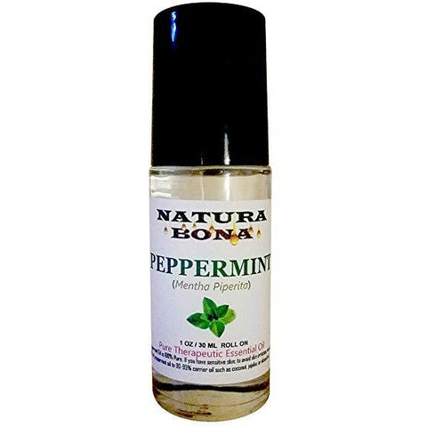 Peppermint Essential Oil. Therapeutic Grade 100% Pure in a 30 mL Glass Roller Bottle.