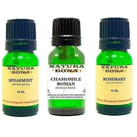 Essential Oil Set, 10 ml 3 Pack - Spearmint, Chamomile, Rosemary (Euro Droppers)