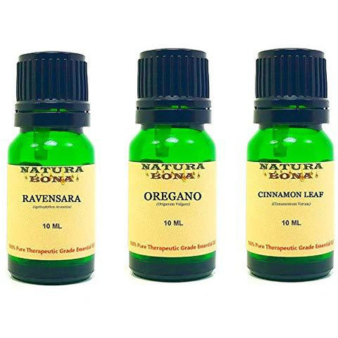 Essential Oil Set, 10 ml 3 Pack - Ravensara, Oregano, Cinnamon Leaf (Euro Droppers)