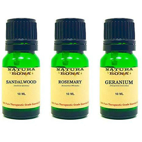 Essential Oil Set, 10 ml 3 Pack - Sandalwood, Rosemary, Geranium (Euro Droppers)