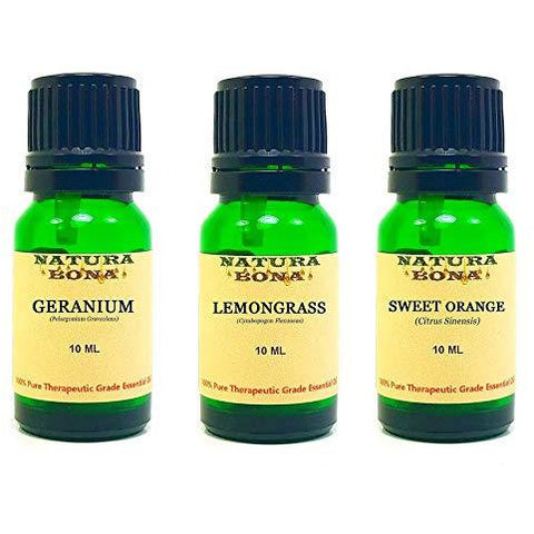 Essential Oil Set, 10 ml 3 Pack - Geranium, Lemongrass, Sweet Orange (Euro Droppers)