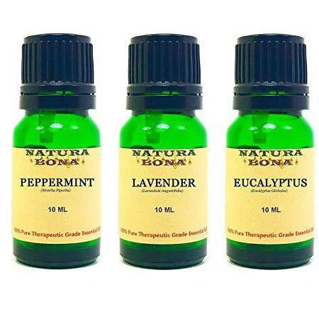 Essential Oil Set, 10 ml 3 Pack - Peppermint, Lavender, Eucalyptus (Euro Droppers)