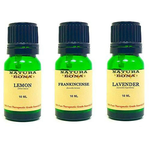 Essential Oil Set, 10 ml 3 Pack - Lemon, Frankincense, Lavender (Euro Droppers)