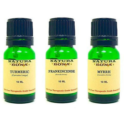 Essential Oil Set, 10 ml 3 Pack - Turmeric, Frankincense, Myrrh (Euro Droppers)
