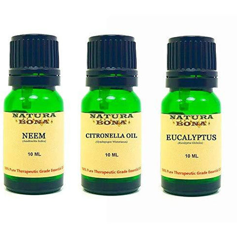 Essential Oil Set, 10 ml 3 Pack - Neem, Citronella, Eucalyptus (Euro Droppers)