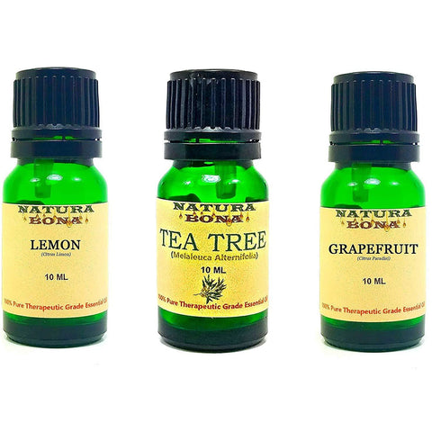 Essential Oil Set, 10 ml 3 Pack - Lemon, Tea Tree, Grapefruit (Euro Droppers)