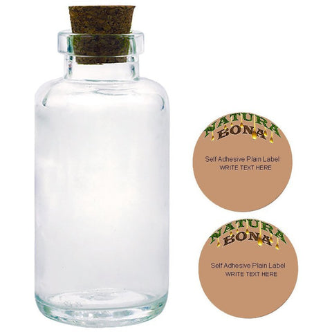 Natura Bona Apothecary Glass Bottles with Tapered Cork, 6oz/170g Clear Thick Glass with Two Blank Adhesive Labels. (1, 6oz Bottle)